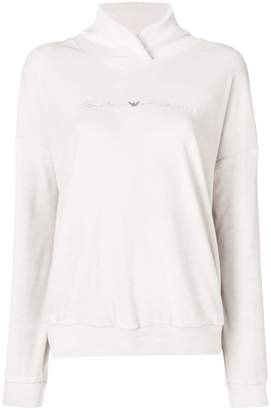 Emporio Armani embroidered jersey hoodie