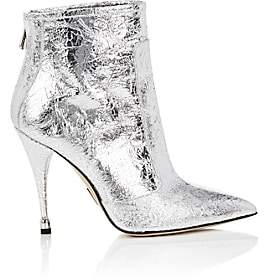 Paul Andrew Women's Citra Craquelé Leather Ankle Boots - Silver