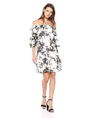 MSK Women's On/Off The Shoulder Balloon Sleeve Dress with Floral Print