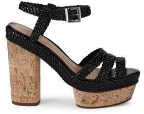 Schutz Kassia Braided Leather Platform Sandals