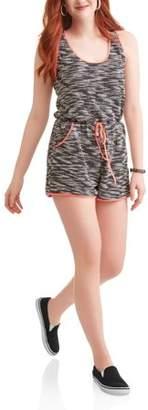 Toxik3 Juniors' Sleeveless Tie Front Romper with Neon Detail