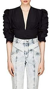 Isabel Marant Women's Andora Silk-Blend Fitted Blouse - Black