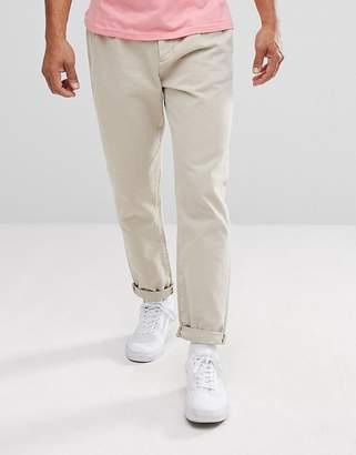 Asos DESIGN Double Pleat Jeans In Stone