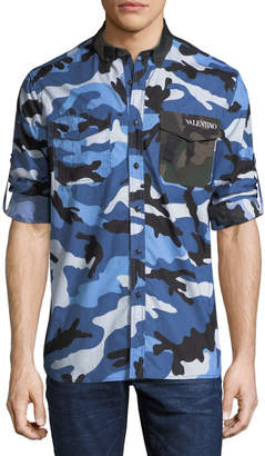 Valentino Men's Button-Down Long-Sleeve Camo Shirt