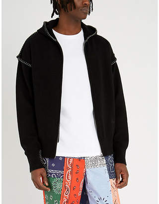 Loewe Blanket-stitched zip-through wool jumper