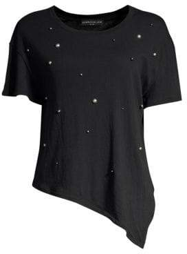 Generation Love Women's Ava Embellished Tie-Front Tee - Black - Size Small