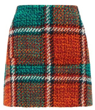 La DoubleJ Checked Wool Blend Tweed Mini Skirt - Womens - Red Print