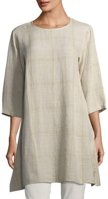 Eileen Fisher Organic Linen Plaid Tunic, Petite