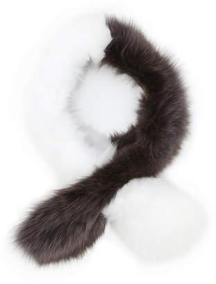La Fiorentina フォックスファー 配色 スカーフ ダークグレイ/ホワイト
