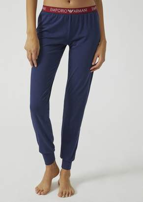 Emporio Armani Stretch Cotton Jersey Leggings With Logo Waistband