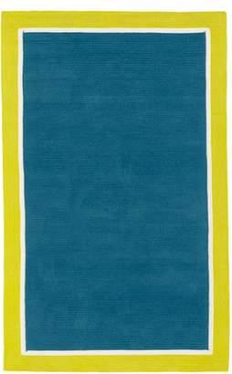 Pottery Barn Teen Capel Border Rug, 8x10, Aquamarine/White/Citron