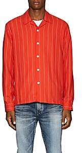 Ami Alexandre Mattiussi Men's Striped Twill Camp Shirt-Red