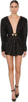DANIELE CARLOTTA Deep V Sequined Mini Dress