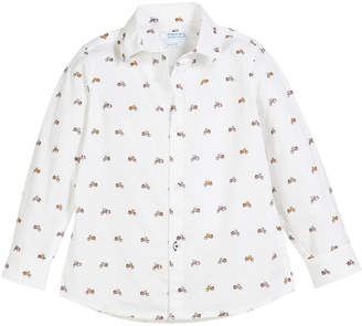 Mayoral Woven Tiny Motorcycle Button-Down Shirt, Size 3-7