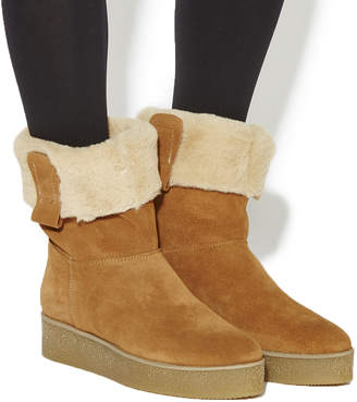 Office Icicle Fur Lined Crepe Sole Boots Tan Suede