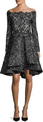 Monique Lhuillier Off-Shoulder Lace Dress