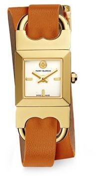 Tory Burch Tory Burch Double T Link Duo Strap Goldtone Stainless Steel and Parrot Leather Strap Watch