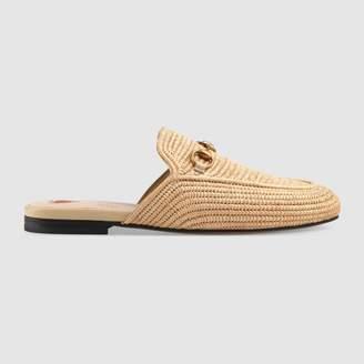 Gucci Princetown raffia slipper
