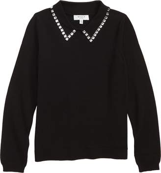 Milly Minis Crystal Collar Sweater