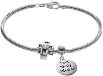 "Individuality Beads Cubic Zirconia Sterling Silver Snake Chain Bracelet, Blessed"" Disc Charm & Cross Bead Set"