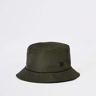 9afa8f0e2ab River Island Mens Khaki piped reversible bucket hat