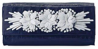 Nancy Gonzalez Floral Insert Crocodile Clutch Bag
