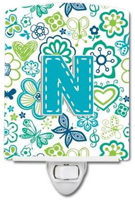 N. Caroline's Treasures Letter Flowers and Butterflies Teal Blue Ceramic Night Light