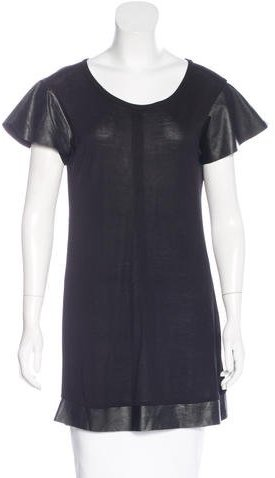 Alexis Alexis Leather-Trimmed Butterfly Sleeve Tunic