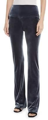 Norma Kamali Velvet Pull-On Boot Pants, Pewter