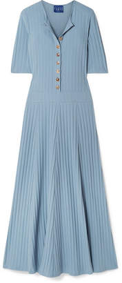 DAY Birger et Mikkelsen Albus Lumen - Ribbed Cotton-blend Jersey Maxi Dress - Light blue