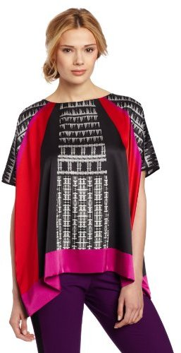 Vince Camuto Women's Empire Geo Poncho Blouse