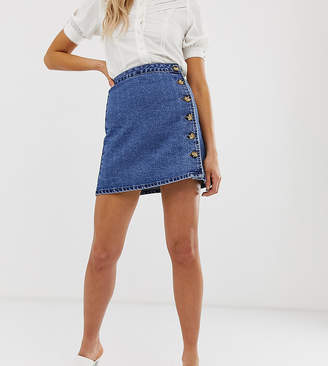 5ce6becdc4 Asos Tall DESIGN Tall denim wrap skirt with side buttons in blue