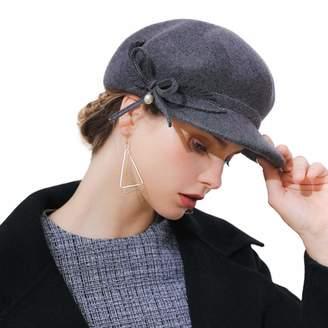 2c49365c35f FADVES Woen Beret Wool Felt Cap Newsboy Cabbie Beret Cap Painter Visor Hats