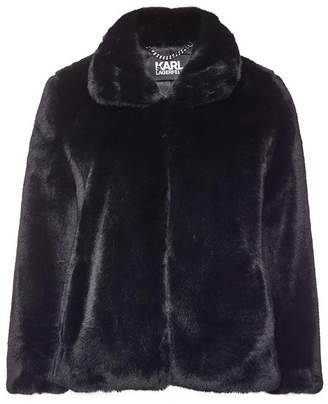 Karl Lagerfeld Faux Fur Jacket with Logo