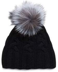 Saks Fifth Avenue Contrasting Dyed Fox Fur Cashmere Cap