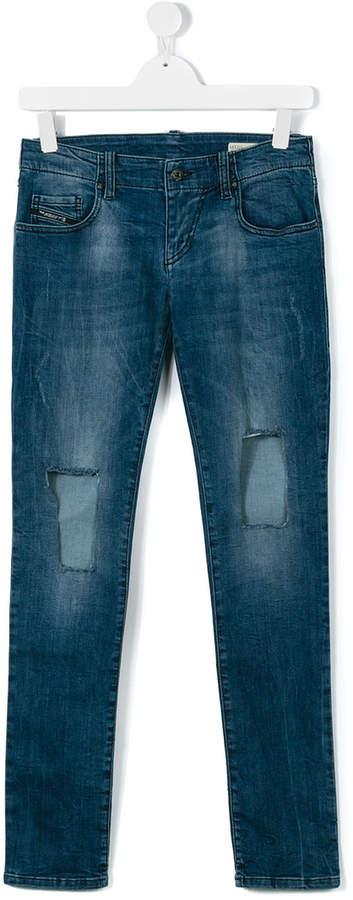 teen distressed denim jeans
