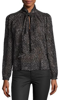 Rebecca Taylor Snow Dot Tie-Neck Blouse, Black $295 thestylecure.com