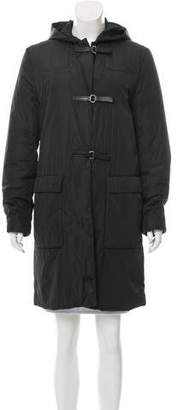 Prada Leather-Trimmed Hooded Coat