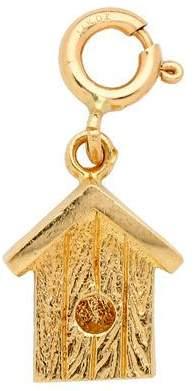 14K Yellow Gold 3-D Bird House Charm