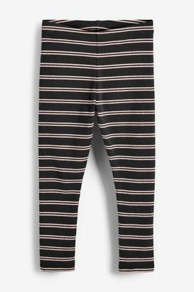 Next Girls Charcoal Rib Stripe Leggings (3-16yrs) - Pink