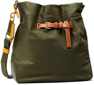 Perry Nylon Color-Block Drawstring Bucket Bag