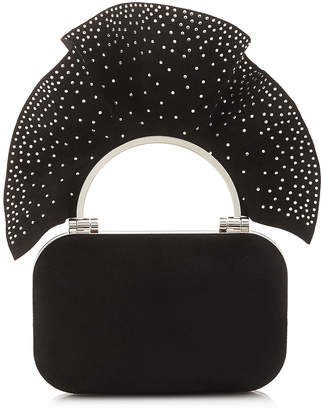 Jimmy Choo CLOUD Black Suede Clutch Bag with Degrade Hotfix Ruffle