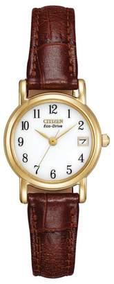 Citizen Ladies Gold Tone Brown Strap Watch Ew1272-01A