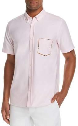 Burberry Harry Check-Trimmed Short-Sleeve Regular Fit Button-Down Shirt