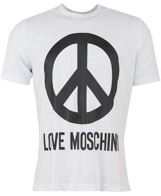 Moschino Large Peace Logo Regular Fit T-shirt Colour: WHITE, Size: XXL