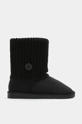 Ardene Faux Suede Cable Knit Boots