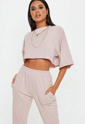 Missguided Cream Oversized Crop T Shirt
