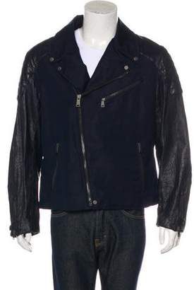 Ralph Lauren Black Label Linen and Leather Biker Jacket