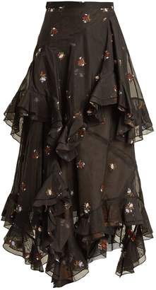 Elsa floral-embroidered tiered cotton-blend skirt