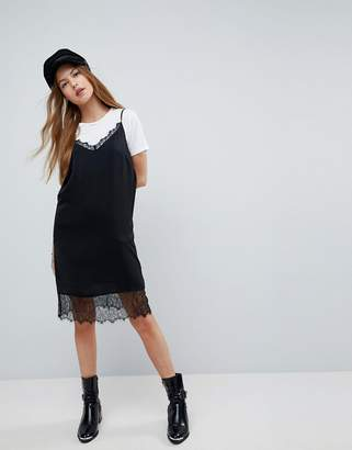 Asos Design Lace Insert Slip Mini Dress